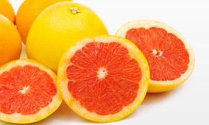 鲜嫩多汁的葡萄柚特写摄影高清图片