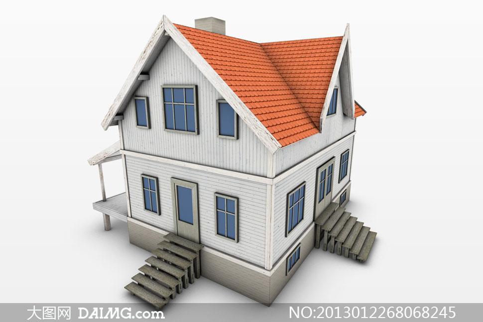 逼真木板結構房子模型攝影高清圖片