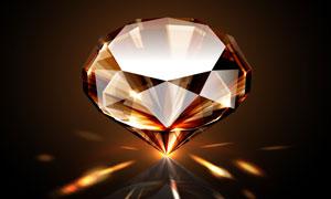 立着的钻石与光线轨迹创意高清图片