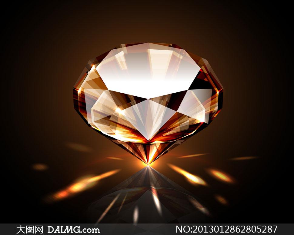 立着的钻石与光线轨迹创意高清图片 - 大图网设计素材