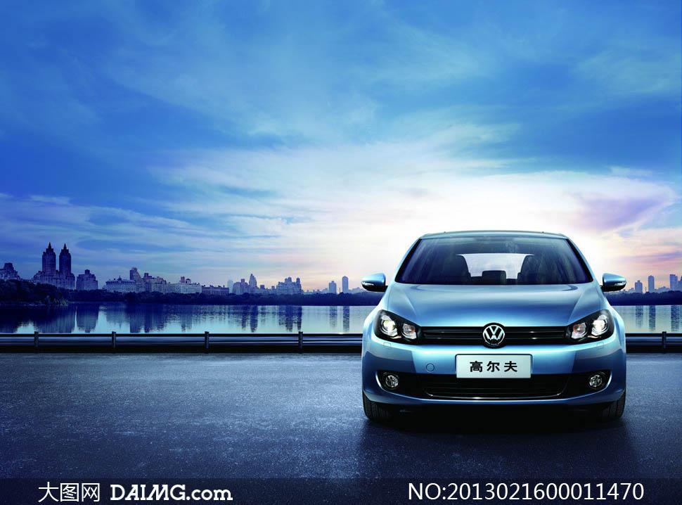 大众蓝色高尔夫汽车摄影图片高清图片