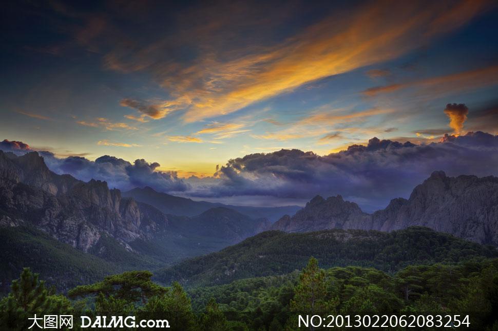 天空云彩山野夕阳风景摄影高清图片_大图网图片素材