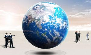 藍天白云地球人物創意PSD分層素材