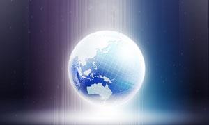 光芒照耀下的地球創意PSD分層素材