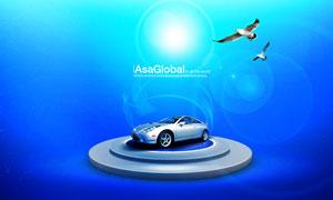 在圆台上的汽车与海鸟PSD分层素材