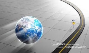 路与飞行着的地球创意PSD分层素材