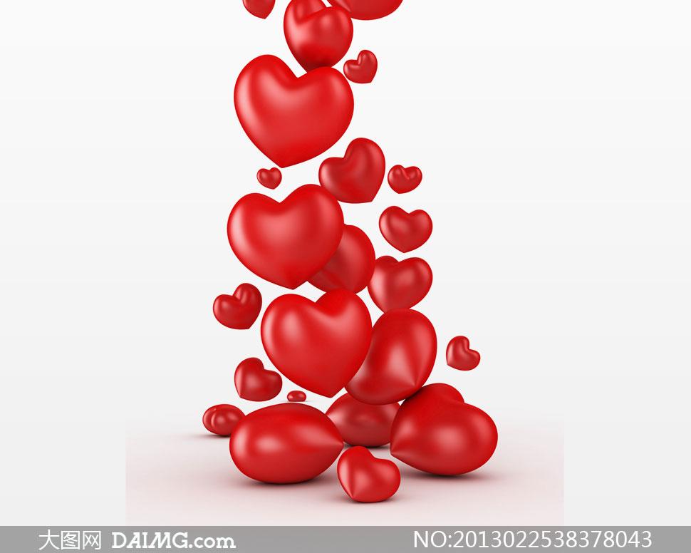 多个大大小小的红色心创意高清图片