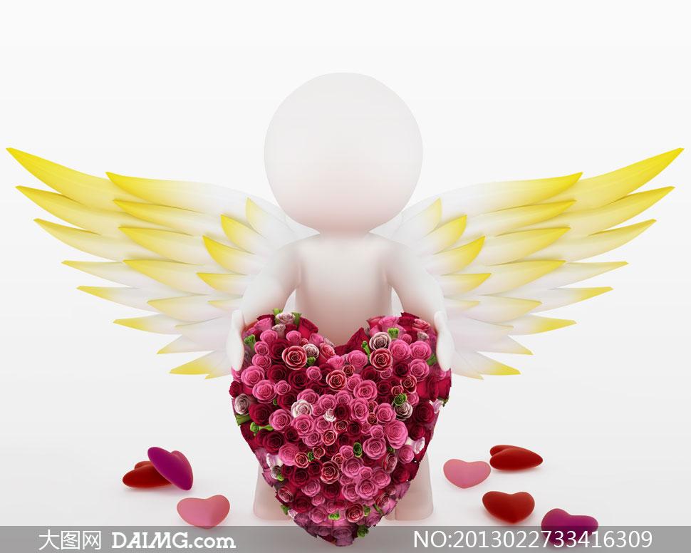 戴翅膀的3d小人创意设计高清图片