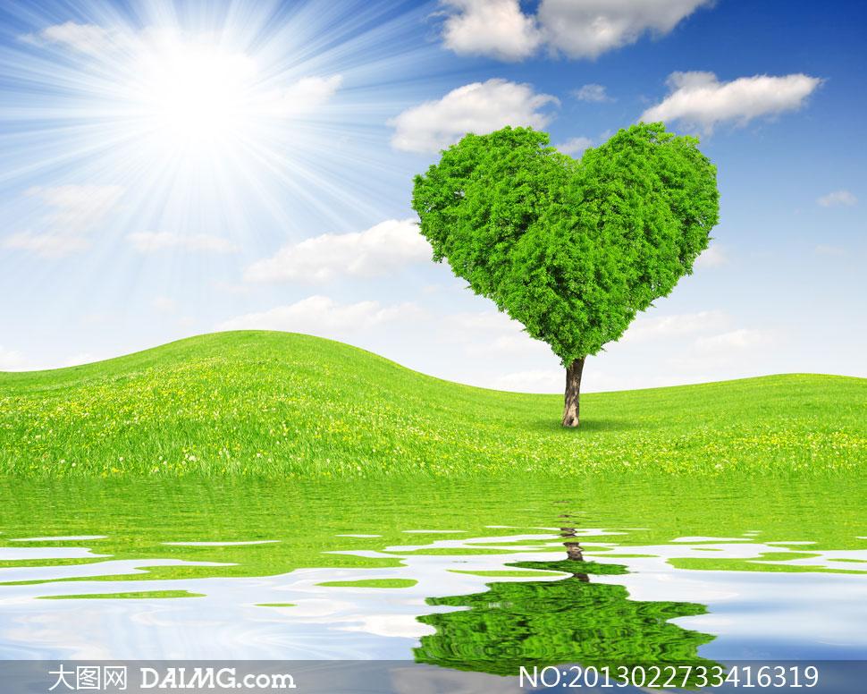 蓝天白云心形大树创意设计高清图片