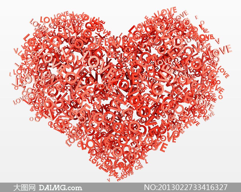 love字母组成的心形摄影高清图片