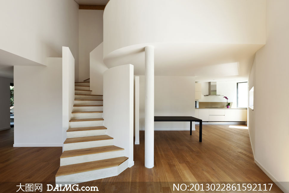 木地板与楼梯别墅内景摄影高清图片
