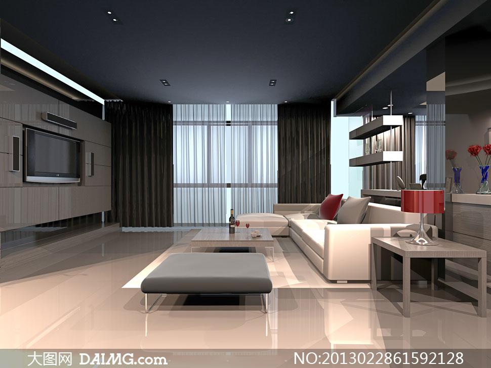 宽敞的大客厅家具摆设摄影高清图片