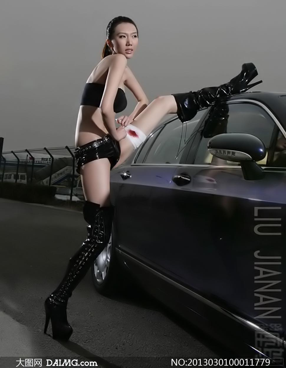 性感的美女车模摄影图片 竖