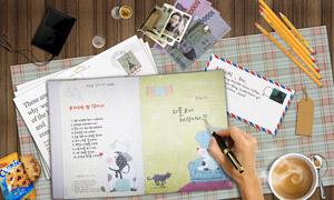 信封铅笔钞票与明信片PSD分层素材