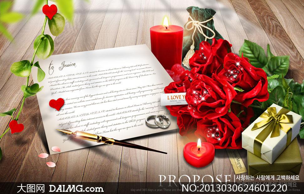 木板纹理背景布袋植物红心心形玫瑰花花朵鲜花花卉
