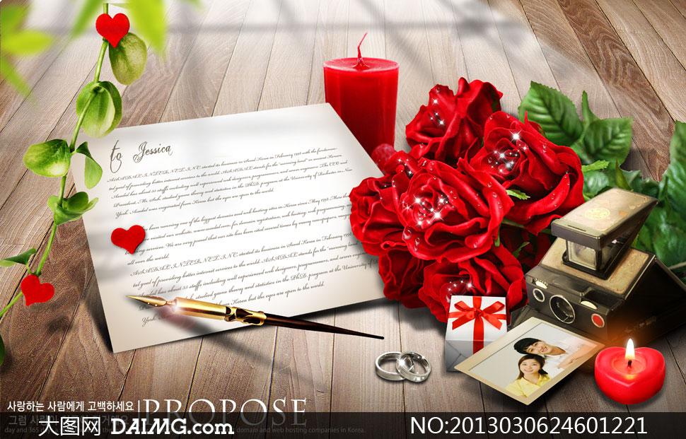 木纹木板纹理背景植物红心心形玫瑰花花朵鲜花花卉红烛蜡烛戒指礼物盒