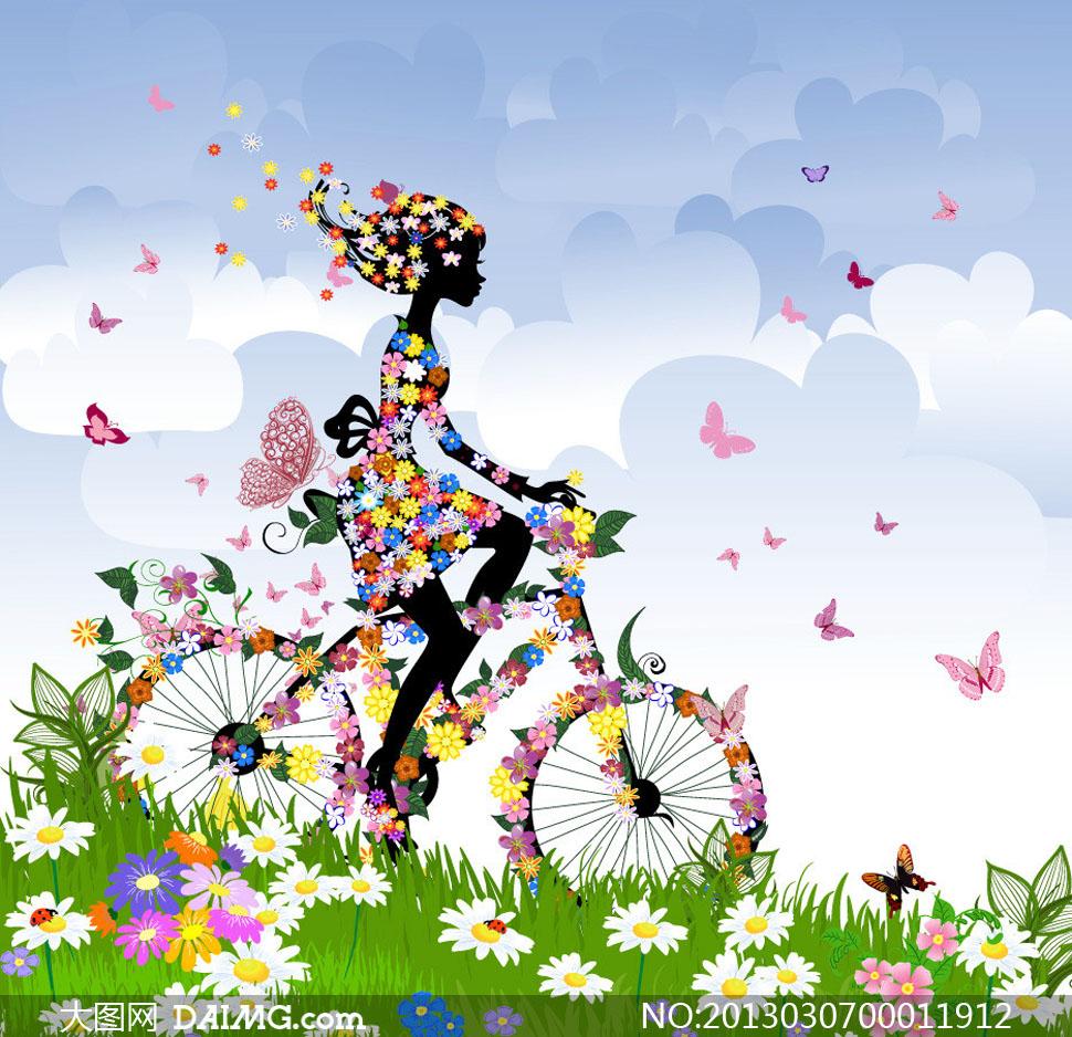 创意的春季花朵自行车 设计 矢量素材, cdr    海报 设计 ,广告 设计