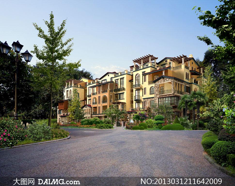 高档住宅小区景观效果psd分层素材