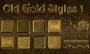 颓废怀旧效果的黄金图案样式