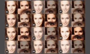 很多小图像组成的人像效果动作