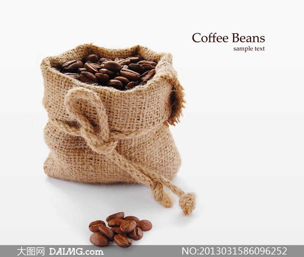 关键词: 高清摄影大图图片素材近景特写静物生活百科咖啡豆麻袋麻绳绳