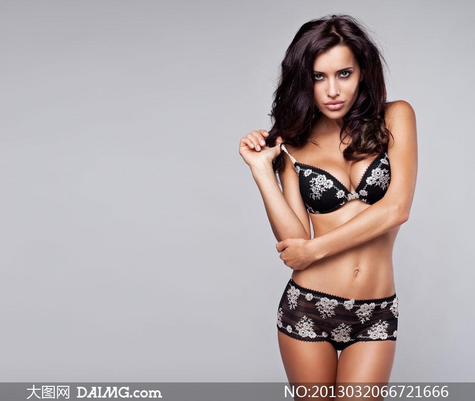 穿内衣的秀发美女人物摄影高清图片 大图网设