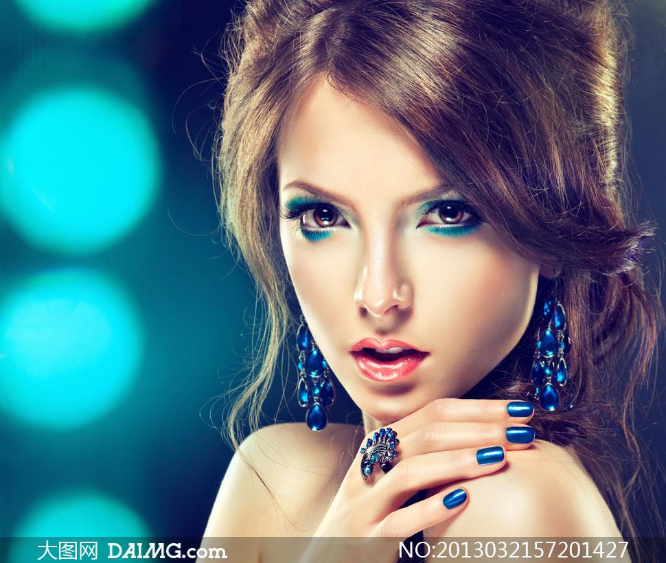 秀发眼妆美女人物近景摄影高清图片下载
