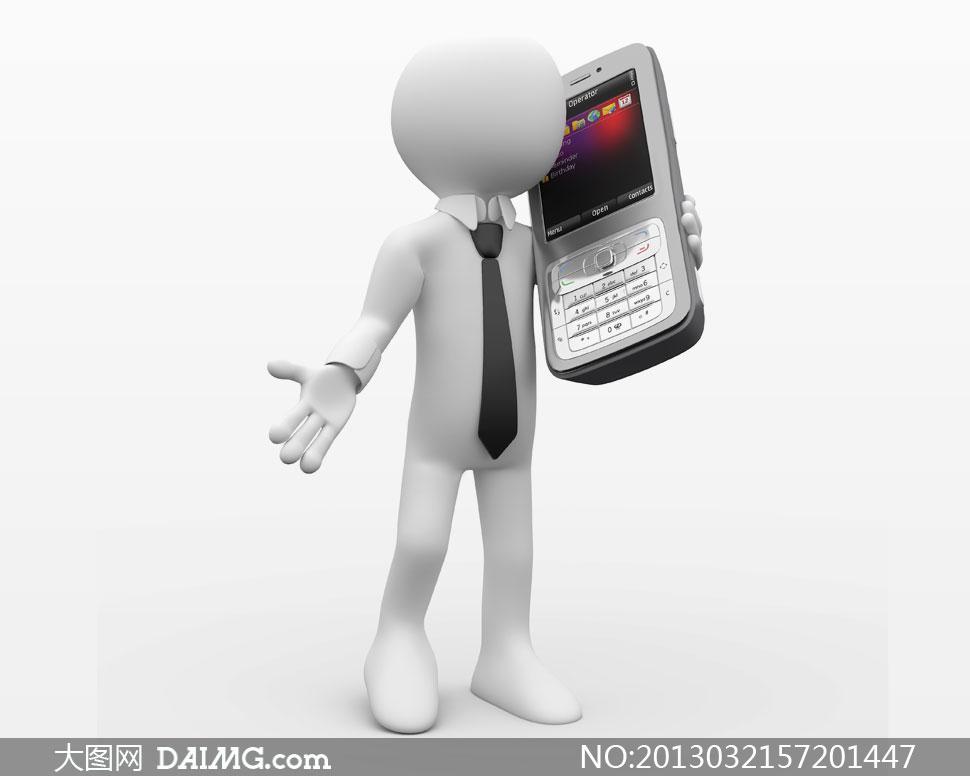 手里拿着手机的3d小人创意高清图片
