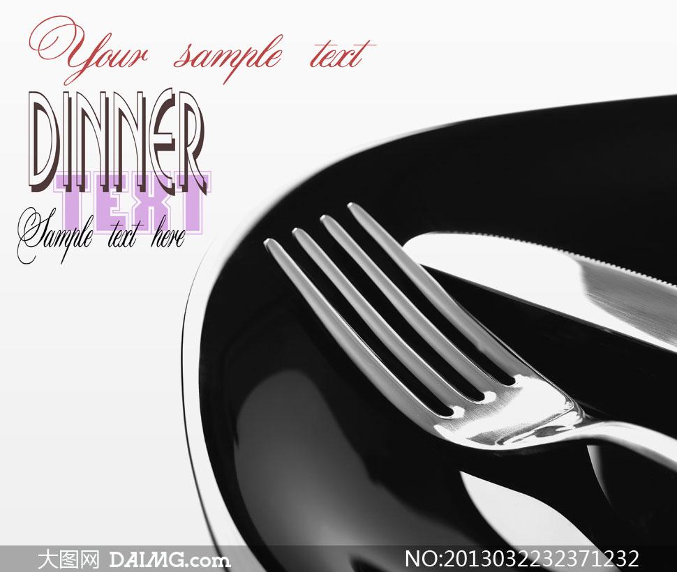 放平底锅里的刀叉餐具摄影高清图片