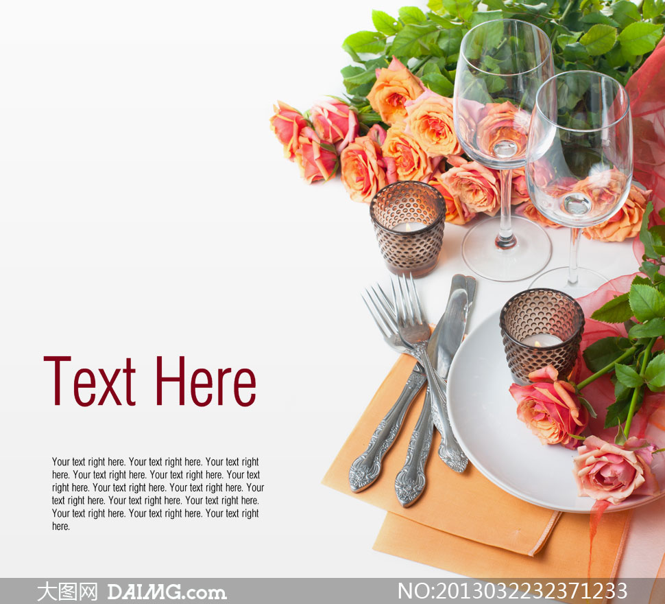 酒杯玫瑰花与刀叉餐具摄影高清图片