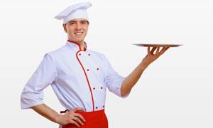 人体托盘餐_单手托盘子的厨师人物摄影高清图片