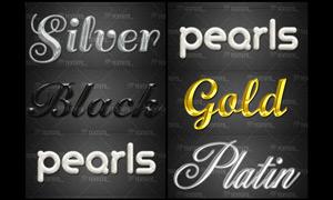水晶纹理和黄金效果字体样式