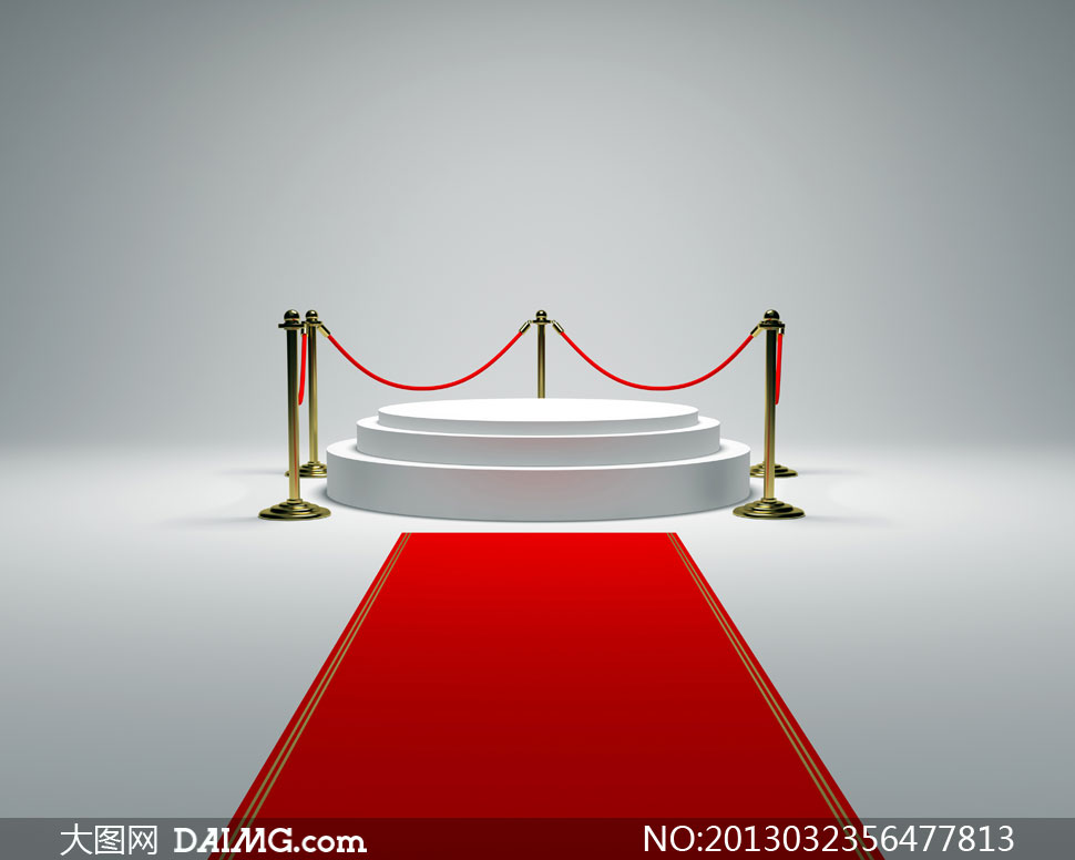圆形展台与护栏红地毯设计高清图片