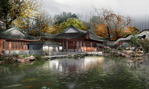 古典中式风格建筑效果PSD分层素材