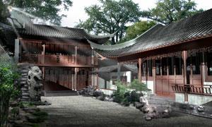 古典中式院落建筑设计PSD分层素材
