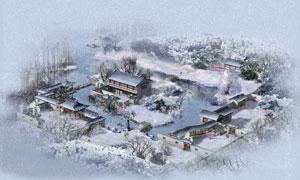 雪景中的古典院落效果PSD分层素材