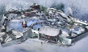 冬天风雪中的古风院落PSD分层素材