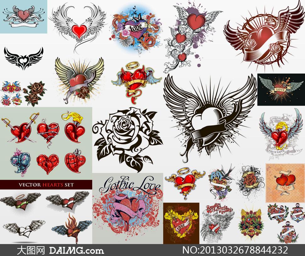 素材刺青纹身小鸟心形丝带锁眼龙玫瑰花花朵蝴蝶图形图片