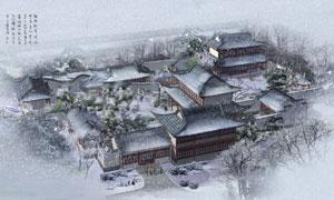飘雪的冬天院落鸟瞰图PSD分层素材