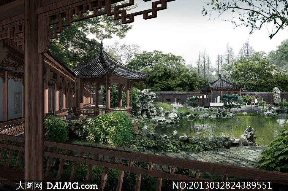 亭子树木大树拱桥石桥假山池塘水塘植物铺砖树林古风中国风古典树枝