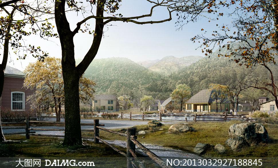 乡村河流河水栏杆护栏大树树木大山山下山脚石头草地河边小河植被植物