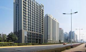 城市建筑物与路灯景观PSD分层素材