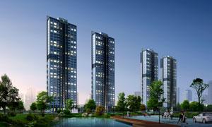 小区高层住宅楼效果图psd分层素材 高清图片