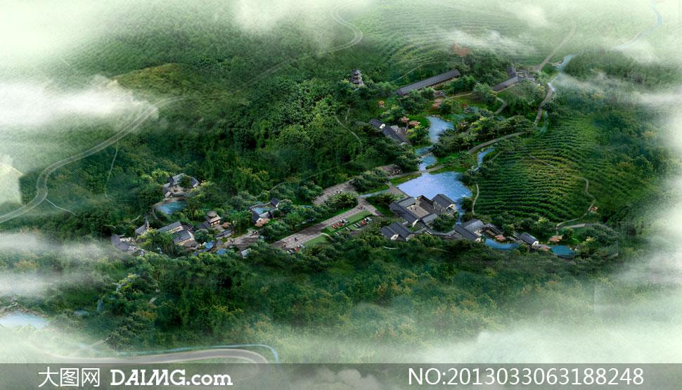 效果图景观图后期设计水晶石源文件建筑设计建筑物鸟瞰图俯瞰图全景图