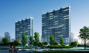 高档住宅小区鸟瞰效果psd分层素材 大图网设计素材下载 高清图片