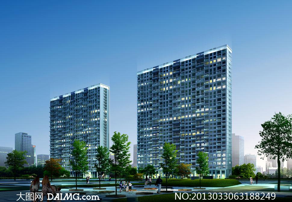 小區高層住宅樓效果圖psd分層素材 - 大圖網設計素材