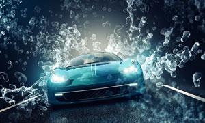 公路上疾驰的蓝色跑车摄影高清图片