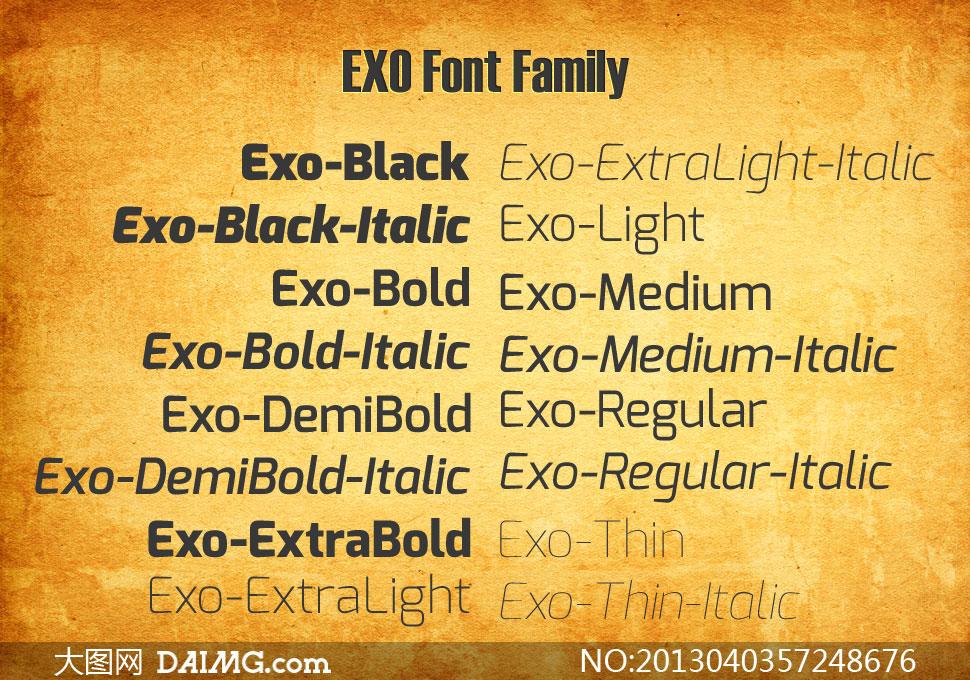 Exo系列18款英文字体