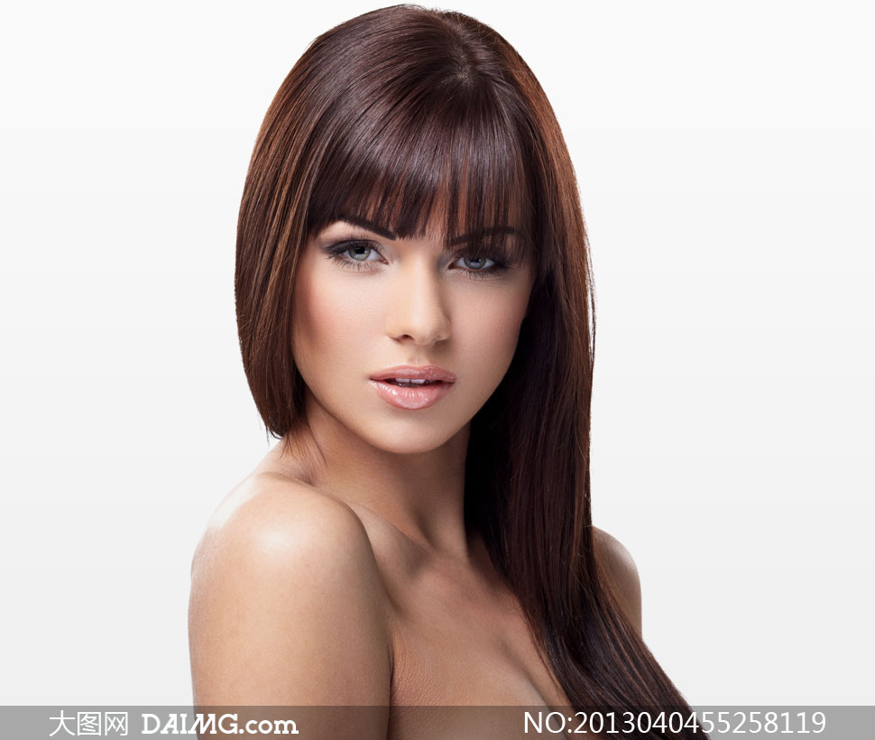 齐刘海儿长发美女模特摄影高清图片