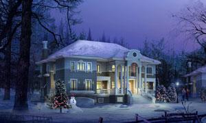 圣诞节房子雪景效果图PSD分层素材